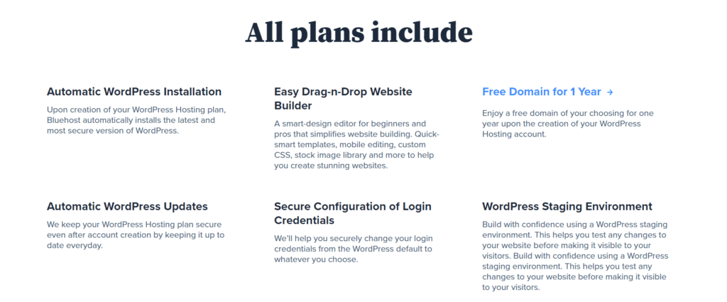 The key features that Bluhost provides in their all plans